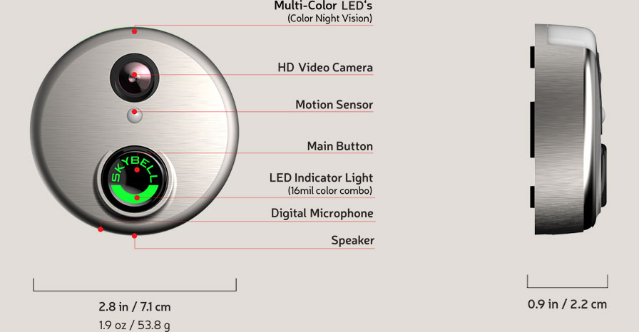 Jarbcom Skybell HD Doorbell Specifications